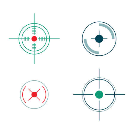Circle target icon set isolated on white background - snipers rifle focus mark with crosshair sign. Flat vector illustration of military weapon shot pointers.