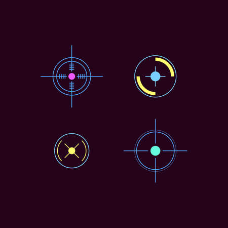 Set of laser tag neon bright target icons or symbols, vector illustration isolated on white background. Military entertainment sportive game signs collection.