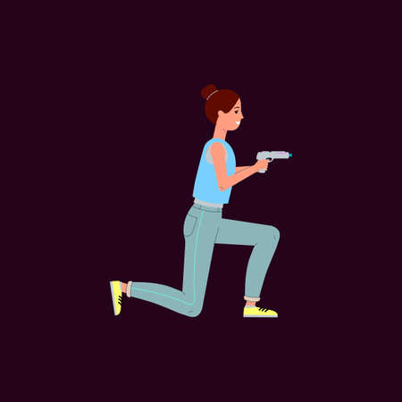 Woman playing laser tag - cartoon female player holding toy weapon, sitting on one knee and smiling ready to shoot. Flat vector illustration isolated on dark background. Illusztráció