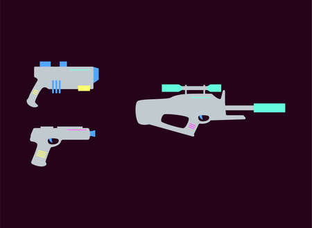 Laser tag gun and rifle set isolated on dark background - flat vector illustration collection of toy military activity simulation game equipment from side view. Illusztráció