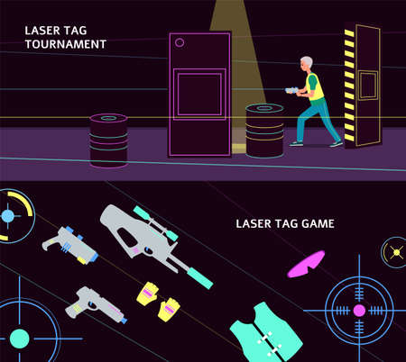 Laser tag tournament banner set with equipment and player with a laser gun walking in dark arena interior. Flat vector illustration of cartoon man playing a game.