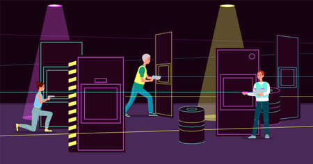 People playing laser tag in dark room with light ray guns and vests. Cartoon player team in battle game arena interior with neon light barriers - flat vector illustration. Illusztráció
