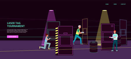 Laser tag tournament banner with cartoon people walking in dark room interior with light ray guns and safety equipment. Player team with weapons - flat vector illustration.