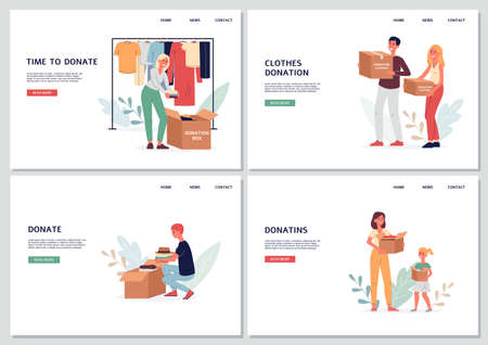 Volunteers put things in cardboard boxes for donation, charity or recycling. People with boxes of things for the poor or homeless. Landing page templates. Vector flat illustrations Stock Illustratie