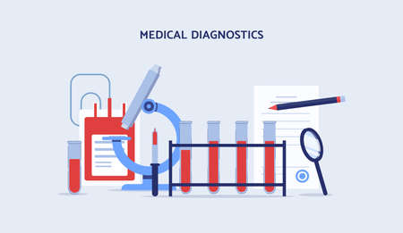 Medical blood diagnosis equipment - flat cartoon banner. Modern medicine research and scientific tools - microscope, test tube, etc - isolated vector illustration.