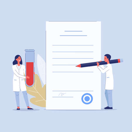 Doctors holding laboratory blood test result - cartoon people with glass test tube with blood sample signing paper document. Vector illustration of medical analysis.