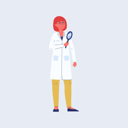 Woman chemical scientist or laboratory researcher cartoon character in white coat with magnifier in hands, flat vector illustration isolated on blue background.