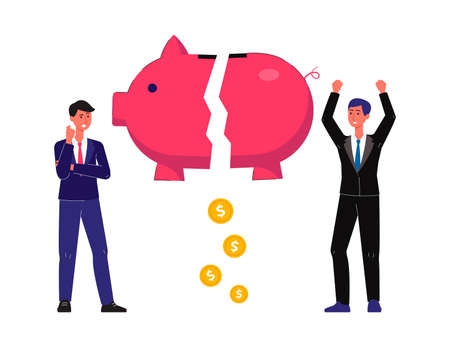 Metaphor of economic crisis financial failure and bankruptcy with businessmen cartoon characters and piggy bank, flat vector illustration isolated on white background.  イラスト・ベクター素材