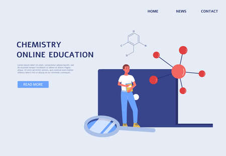 Online chemistry education banner - science website template with cartoon student man and scientific symbols on laptop background, vector illustration.