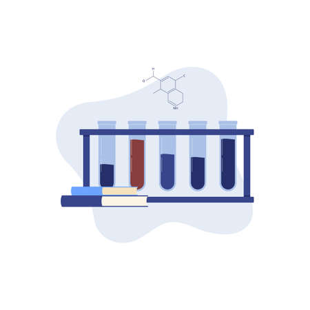 Chemical laboratory test tubes and books for chemistry and physics training courses or online classes, cartoon vector illustration isolated on white background. Illustration