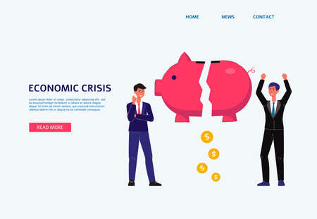 Economic crisis web banner with business man and piggy bank, flat vector illustration on white background. Crisis management and financial bankruptcy landing page.