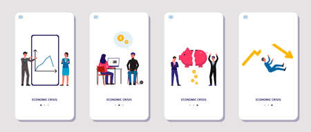 Economic crisis onboarding pages set flat vector illustration on white background. Crisis management and financial bankruptcy services applications interface.