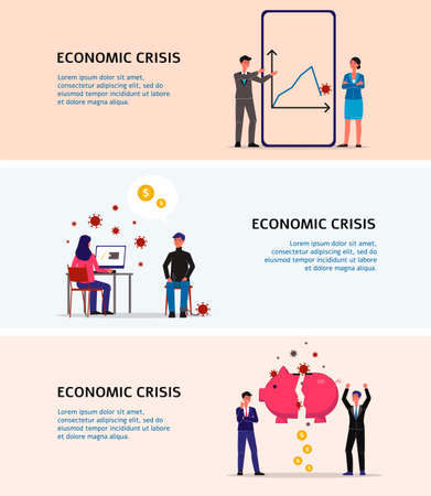 Set of horizontal banners of economic crisis with business people in terms of financial downturn, growing unemployment and bankruptcy, flat vector illustration.