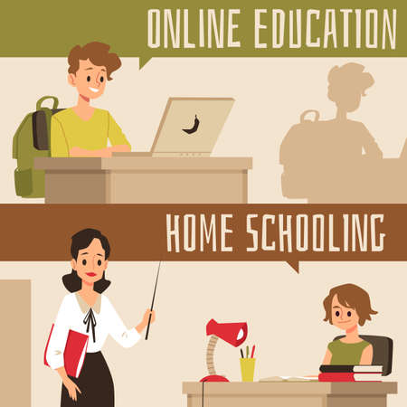 Online education and home schooling banner set - cartoon children learning from laptop with Internet and homeschooled with personal tutor. Flat vector illustration. Ilustração