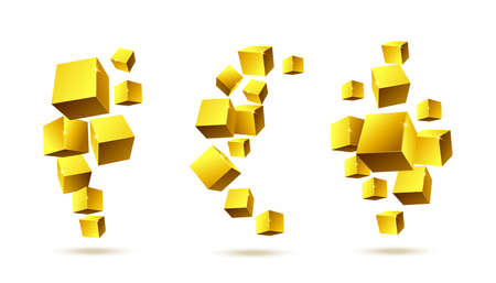 Abstract design elements consisting of gold 3d rendering blocks in motion. Geometric minimalistic style. Set of vector realistic illustration isolated on white background. 矢量图像
