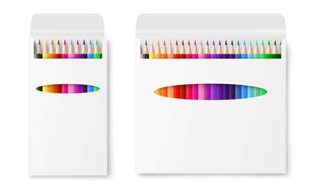Template two vector realistic boxes of colored pencils. Illustration of 3d packaging of crayons for advertising. Mockup isolated on a white background. 矢量图像
