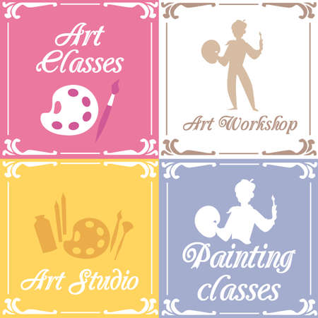 Cards with drawing tools, frames and silhouettes of artists.Art education or creative workshop. Set of vectors illustrations for an art studio or class.