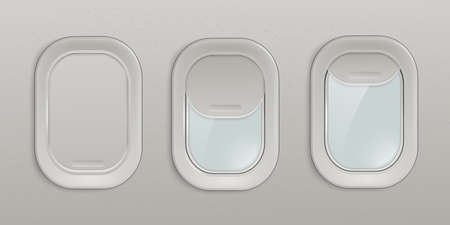 Flight airplane window or blank plane portholes with open and closed shades insight view 3d realistic vector illustration. Art design interior aircraft with illuminators. Ilustración de vector