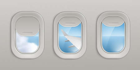 Flying airplane windows or portholes with open and closed shadows insight look at sky and wing 3d realistic vector illustration. Interior of an airplane with illuminators. Vetores