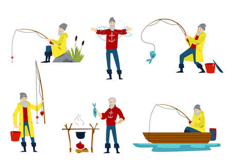 Isolated cartoon fisherman set - old man with red sweater and yellow coat holding fishing rod, pulling a fish out of water, waiting on a boat, cooking on bonfire - flat vector illustration