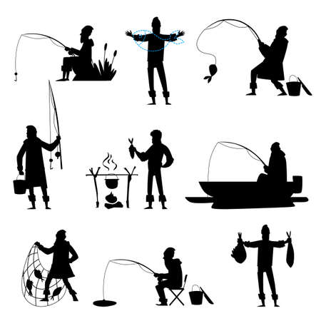 Set of different situations with a fisherman while fishing. A fisherman catches fish and sits in a boat, with a fishing rod, a net. Isolated vector illustration with black silhouette of a fisherman. Illustration