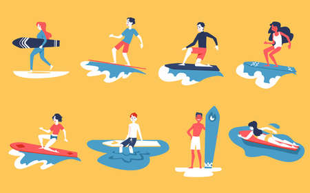Set of people surfing, men and women with surf boards. Surfers man and woman ride on the boards on the waves. Flat vector illustration, concept of surfing and surfers.