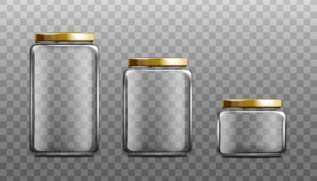Realistic empty glass jar mockup set isolated on transparent background - clear rectangle food preserve containers with gold lids and different sizes. Vector illustration Vecteurs
