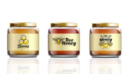 Realistic glass honey jar mockup set with label logo template isolated on white background - sweet dessert food container collection. Vector illustration.
