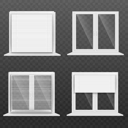 Realistic white window blind set isolated on transparent background - clear glass home windows with different types of open and closed blinds and shutters. Vector illustration. 向量圖像