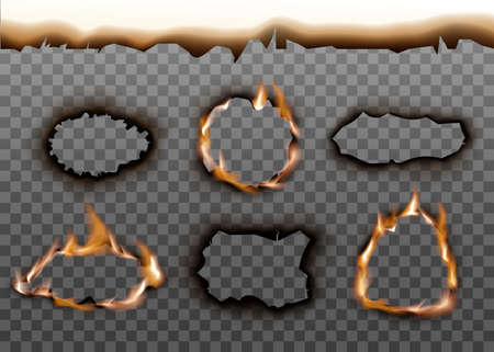 Realistic burning paper hole texture set with burnt edges and scorched ash frame. Flaming fire frames isolated on transparent background - vector illustration