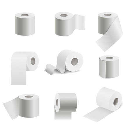 Realistic toilet paper roll set isolated on white background. Collection of soft textured sanitary napkin in different angles and positions - vector illustration Çizim