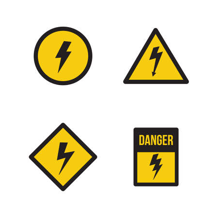 Set of high voltage signs or banners with lightning strike symbols on yellow shield vector illustration isolated on white background. Electric shock warning badges.