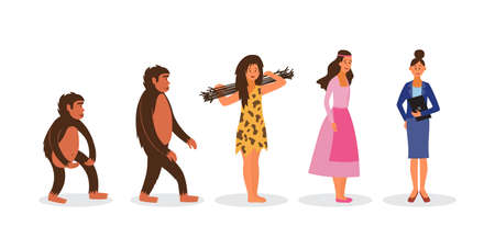 Female evolution from ape to business woman - cartoon women standing in Darwin chain evolving from monkey, cavewoman to boss. Flat isolated vector illustration. Illustration