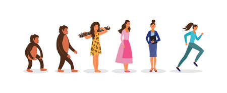 Human evolution female cartoon characters set from primate to modern woman, flat vector illustration isolated on white background. People history and mankind progress. Illustration
