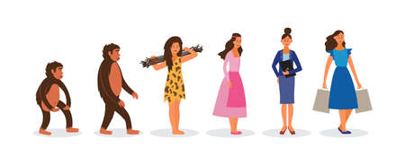 Female Darwin evolution chain from monkey to happy woman with shopping bags. Cartoon line of monkey, cavewoman, businesswoman, etc. Flat isolated vector illustration.