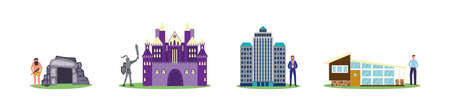 House evolution set from stone cave to medieval castle to city skyscraper and modern building. Architecture design progress through ages - flat isolated vector illustration