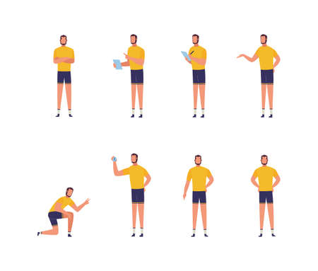 Fitness trainer or coach man cartoon character in various poses set, flat vector illustration isolated on white background. Sport and gym workout professional instructor. Vectores