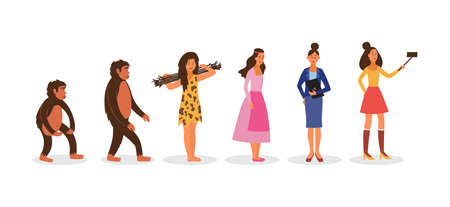 Human evolution from prehistoric homo-sapiens to trendy modern woman cartoon characters standing in line, flat vector illustration isolated on white background.