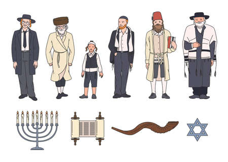 Jewish people clothing and symbol set with shofar horn and Star of David, Torah scroll and menorah candelabrum. Cartoon Judaism collection, flat isolated vector illustration