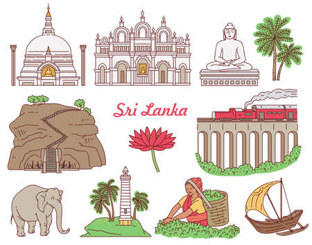 Set of Sri Lanka world famous tourist landmarks icon set, sketch cartoon vector illustration isolated on white background. Asian travel destination sights. 向量圖像