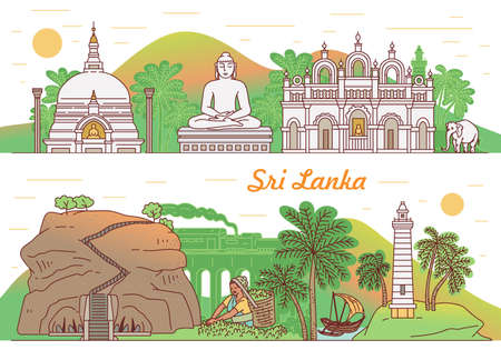 Set of flyers or horizontal banners with Sri Lanka tourist landmarks, sketch cartoon vector illustration. Backgrounds for traveling agency tourist brochure. 向量圖像
