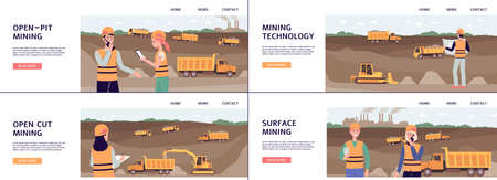 Mining industry and quarrying banners set with open pit and mountains landscape, flat vector illustration background. Machinery and workers on coal or mineral mine.