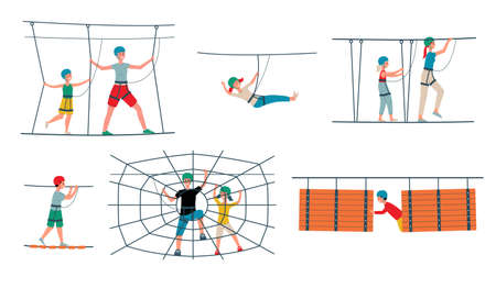 Rope park set with equipment, cord ladders and visitors cartoon characters, flat vector illustration isolated on white background. Climbing attraction icons collection.