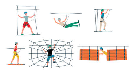 Rope park set - cartoon people with safety equipment going through obstacle course, wooden bridge and climbing spider web. Flat isolated vector illustration