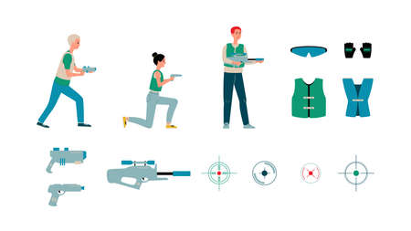 Laser tag players and equipment set - cartoon people in vests holding guns isolated on white background. Aim symbol, safety glasses and gloves, flat vector illustration.