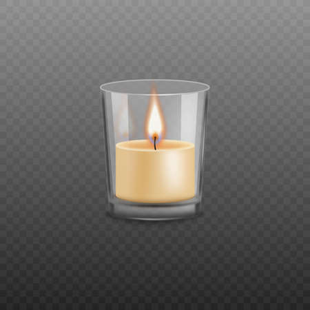 Wax candle burns in a glass candlestick, fire, flame on a transparent background. Candlelight in the dark, romantic decoration for holidays and Christmas. Realistic vector illustration of a candle.