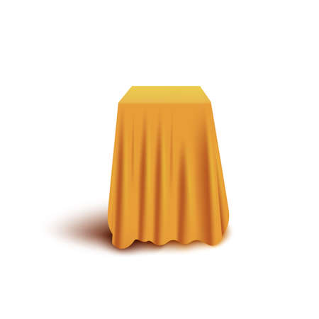 Yellow curtain cover hiding cube shape object isolated on white background - realistic fabric drapery covering mystery item. Surprise product presentation element vector illustration.