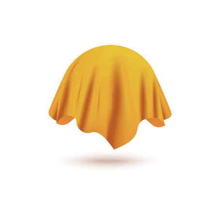 Silk yellow curtain cover covering invisible sphere object isolated on white background - realistic fabric drapery hiding a ball shaped mystery item floating in air, vector illustration