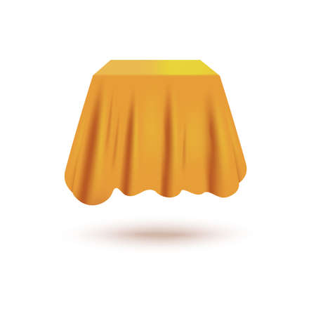 Silk curtain cover hiding cube shaped mystery object floating in air - realistic satin fabric draped over mystery item. Product unveiling exhibition element - vector illustration.