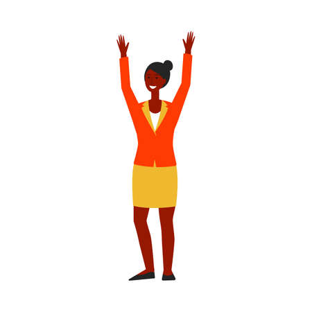 Black african american young woman or girl in business suit raised hands up. Businesswoman celebrates success, achievement or victory, win or winner concept. Flat cartoon isolated vector illustration